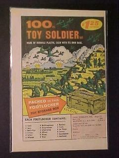 OLD RARE ~WAR ARMY MEN TOY SOLDIERS & FOOTLOCKER PRINT AD~ ORIG