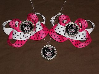 HELLO KITTY Hot Pink and Black Bottlecap Hairbow / Necklace Set 818