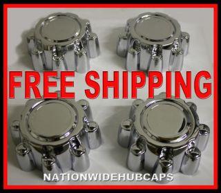 Set of 4 FORD 8 LUG 16 Chrome Wheel Center Cover Hub Caps Rim Cap
