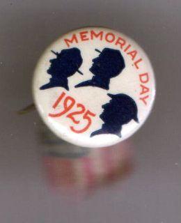 1925 pin MEMORIAL Day depicted HELMETS of CIVIL Spanish American WAR
