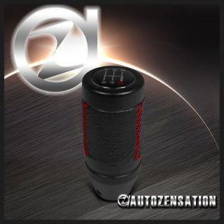 Shift Gear Knob Black Leather Red Stitch 5/6 Speed Manual Transmission