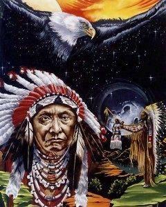 BALD EAGLE CHIEF 8x10 In. Native American Theme Print