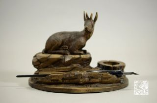 19th C. Swiss Carved Wood Alpine Goat Shmonix Pen and Ink Stand