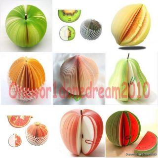 1x Apple Peach Watermelon Pear Lemon Orange Fruit Note Memo Paper