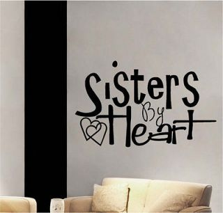 Sisters By Heart Vinyl Wall Decor Sticker Decal Quotes