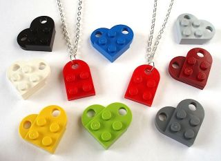 LEGO Friendship Heart Necklace Set of 2   Silver / Gold Plated plate