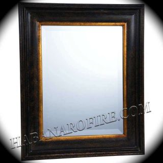 New Antiqued Dark Brown Large 17x21 Framed Beveled Glass Wall Mirror