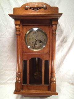 Antique Mauthe German Wall Clock with Oak Case Kakaco Noted on Clock