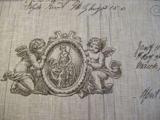 shabby chic vintage script French designer linen fabric