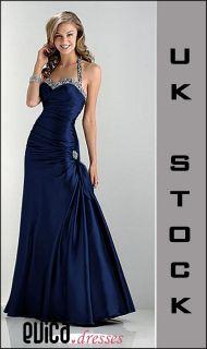 Navy blue evening prom dress ball cruise gown uk8 22