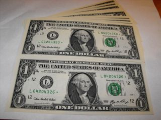 2006 25 Consecutive Number US $1 Dollar Star Note Bills