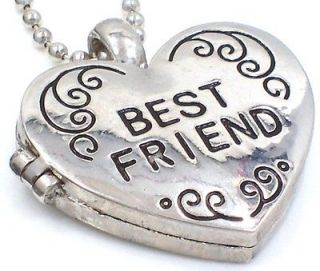 BEST FRIEND ♥♥ Heart Locket Silver Tone Pendant Necklace