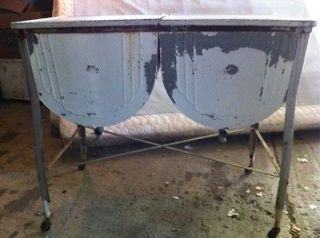 DOUBLE historical Antique Wash Tub Galvanized Local Pickup Only
