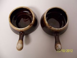 Vintage McCoy Brown Drip 2 French Onion Soup Serving Bowls w/ Handles