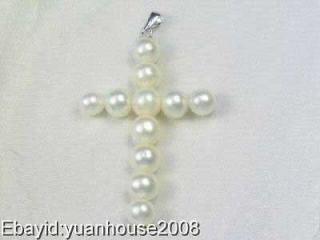 8mm white freshwater pearl cross pendant necklace