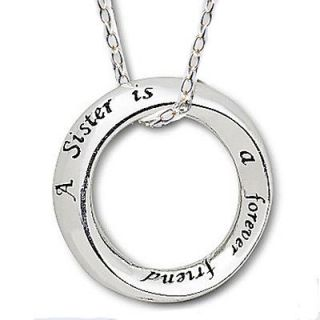 for Sister Forever Friend Open Circle Charm Sterling Silver Necklace