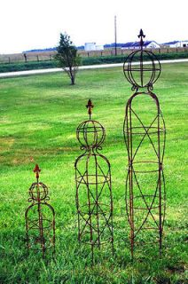 Large Wrought Iron Sphere and Finial Obelisk Trellis   Flower Support
