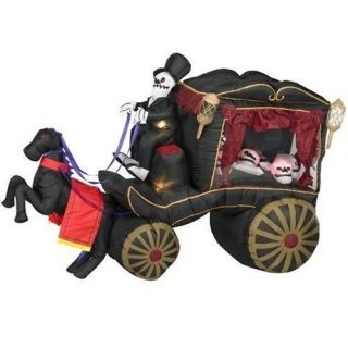 NEW Gemmy Airblown Inflatable HALLOWEEN 8 Feet Long Horse Drawn HEARSE