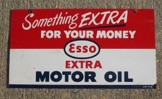 1950 ESSO Motor Oil Sign  Gas Station Antique Auto Garage Vintage
