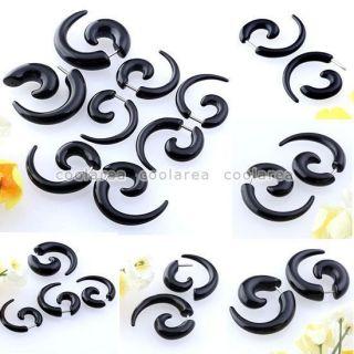 Cheater Black Acrylic Taper Spiral Ear Plugs Earrings Look 6G/4G/2G/0G