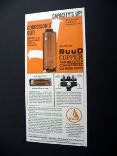 Ruud Copper Sanimaster Gas Water Heater 1961 print Ad