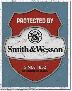Protected by Smith & Wesson S & W Badge Gun Vintage Metal Tin Sign