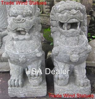 ... Carved Stone GUARDIAN Lion Of Buddha FOO DOG Zen GARDEN STATUES #501 I  ...