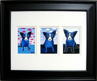 FRAMED GEORGE RODRIGUE BLUE DOG CLOUDS TRIO   17.5 x 14.5