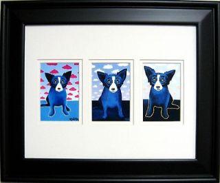 FRAMED GEORGE RODRIGUE BLUE DOG CLOUDS TRIO   17.5 x 14.5