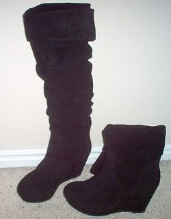 Steve Madden Girl New Black Women Heel Knee High Boot Shoe Suede Size