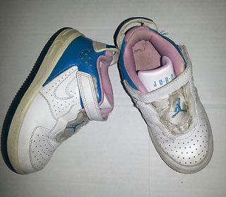 GUC Girls Nike Jordan high tops size 10C White, blue, pink