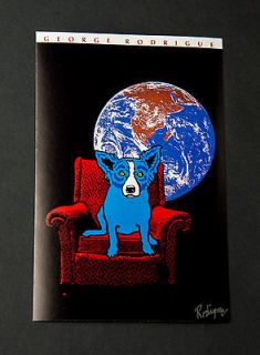 George Rodrigue Blue Dog Space Chair Signed Promotional Card