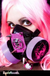Hello Kitty Skull LED Gas Mask Rave Cyber Goth Clothes