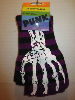 FINGERLESS GLOVES PURPLE AND BLACK WITH SKELETON BONE FINGERS GOTHIC