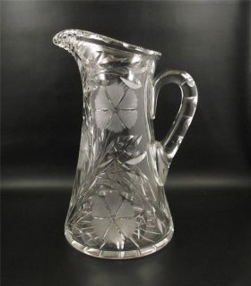 Antique Floral Cut Glass Water Pitcher~Cut Flowers (!)