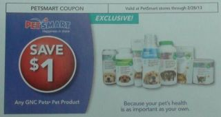10 Petsmart GNC PET PRODUCT $1.00 coupons 2/28/13 $10