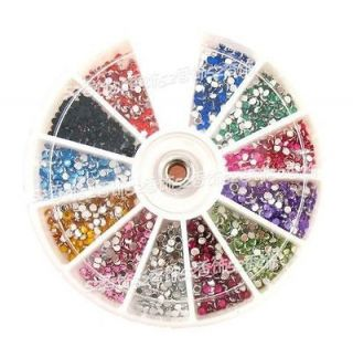 1000 x 4mm Nail Art Rhinestones Glitters Wheel 12Colors