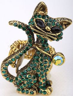 Gold green crystal cat stretchy ring;matching pin brooch & pendant