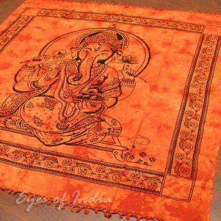 INDIAN ORANGE HINDU GOD GANESHA BEDSPREAD TAPESTRY Ethnic Decoration