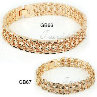 Womens 18K Rose Gold Filled Star Double Heart Bracelet Chain Jewelry