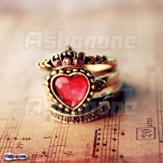 New Retro Vintage Red Love Heart Crown 3in1 Ring