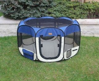 large Navy Blue Pet Dog Cat Tent Playpen Exercise Play Pen Soft Crate
