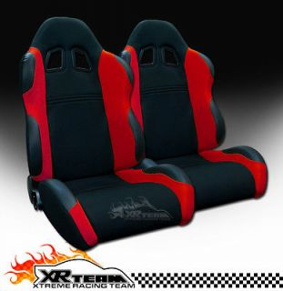 2x Left+Right Black/Red Fabric & PVC Leather Reclinable Racing Seats