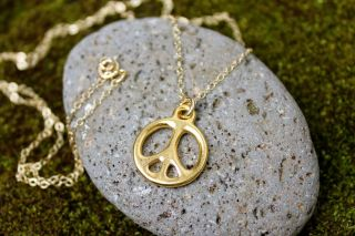 Gold peace sign necklace   24k gold plated charm on 14k gold filled