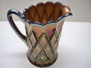 ANTIQUE MILLERSBURG PURPLE CARNIVAL GLASS DIAMONDS WATER PITCHER