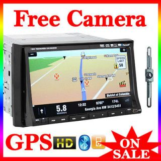 inc TouchScreen Car VCD DVD Player TV GPS Map FM iPod+Free Rear Camera