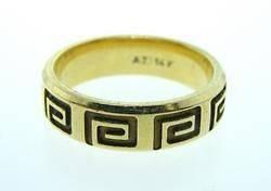 Estate Jewelry 14K Gold Greek Key Wedding Ring Band