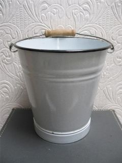 Antique Light Grey Graniteware Tall French Flower Bucket Wood Handle