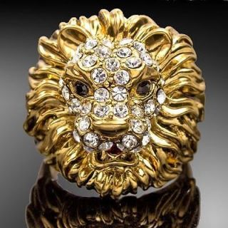 Jewelry Lion Head Shape 18k Gold GP Crystal Cocktail Fashion Ring