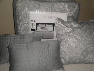 Hillcrest GREY PAISLEY Damask QUEEN Comforter 6p SET